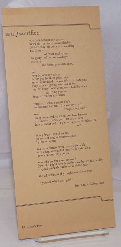 : Momo's Press, 1982. Poetry broadside, 5.25x11.5 inches, very good condition.