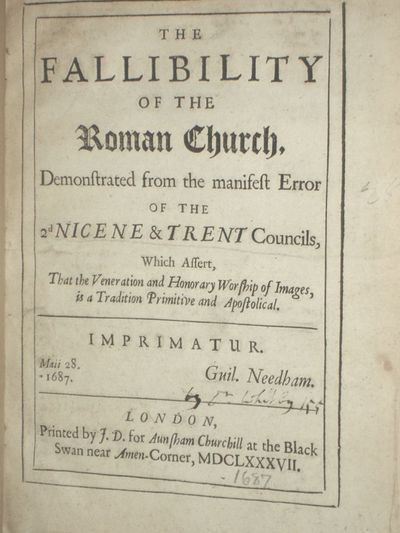 London: Printed by J.D. For Aunsham Churchill, 1687. Octavo. Attributed to Daniel Whitby, title page...