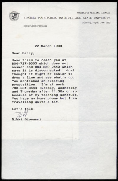 Unbound. Fine. Brief Typed Letter Signed. Dated 22 March 1989. Fine, folded as mailed. Envelope incl...