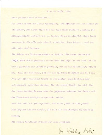 Stekel writes to the painter, Ludwig Hessheimer (1872-1956) giving his view of Hessheimer's exhibiti...