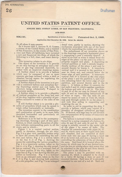 Washington DC: United States Patent Office, 1909. Wraps. Very good. The six page original patent is ...