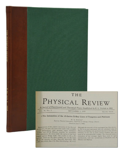Lancaster, PA & New York: Published for the American Physical Society, 1939. First Edition. Fine. Pp...
