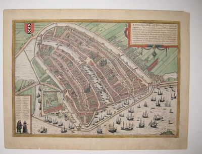 Cologne: Braun & Hogenberg. unbound. View. Engraving with original hand coloring. Image measures 13....