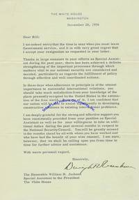 Eisenhower Responds To The Resignation Of His National Security Advisor And Congratulates Him On His Achievements