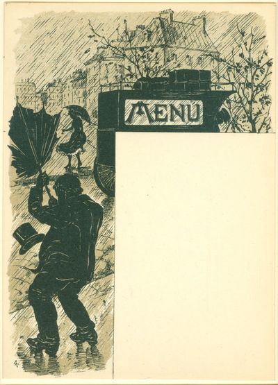 1900. Two-tone lithographed menu template (16 x 11.7 cm.). An unused menu template. The blank area c...