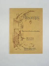 Vintage Restaurant Menu, Arnaud's Restaurant, New Orleans