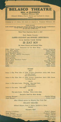 James Gleason and Robert Armstrong in an American Comedy Entitled Is Zat So? March 7, 1927