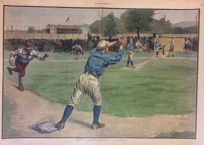 New York: Harper's Weekly, 1887. unbound. very good(+). Woodcut with hand coloring. 16