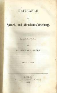 BEITRAEGE ZUR SPRACH- UND ALTERTHUMSFORSCHUNG: AUS JÜDISCHEN QUELLEN.  COMPLETE IN TWO VOLUMES
