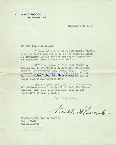 FRANKLIN D. ROOSEVELT (1882-1945). Roosevelt was the Thirty-Second President. Archive. 5 pieces. 193...