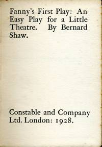 image of Fanny's First Play : An Easy Play for a Little Theatre