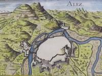 image of Hand Colored 1636 Print, Map of Alez, from 'Les plans et profils de toutes les principales villes et lieux considerables de France