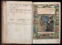 THE FIRST PRINTED WORK ON CRYPTOGRAPHY  WOODCUT TITLE PAGES IN CONT. HAND-COLOR  PRESERVED IN AN ELABORATELY STAMPED GERMAN BINDING DATED 1587  Polygraphiae libri sex