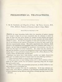 On the Constitution and Properties of Ozone (Philosophical Transactions of the Royal Society of...
