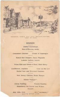 image of An Original 1932 Vintage Dinner Menu from the Ocean Liner M. V. Georgic