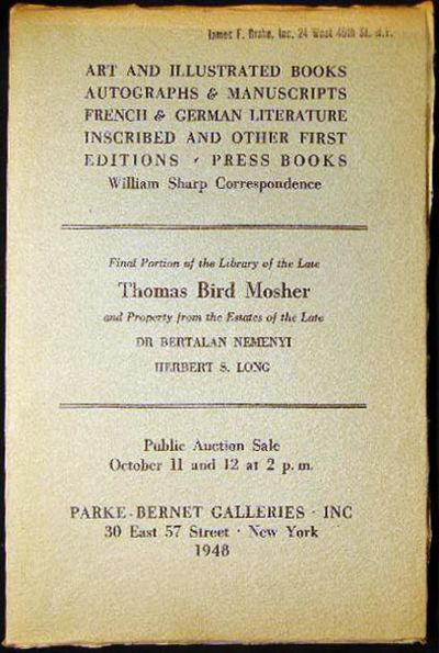 New York, NY: Parke-Bernet Galleries, 1948. Sale No. 990; 81 page auction catalogue, 613 lots; inclu...