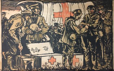 1917. Poster mounted on linen. Original lithograph. 39 x 59 1/2 inches. Top and bottom margins trimm...