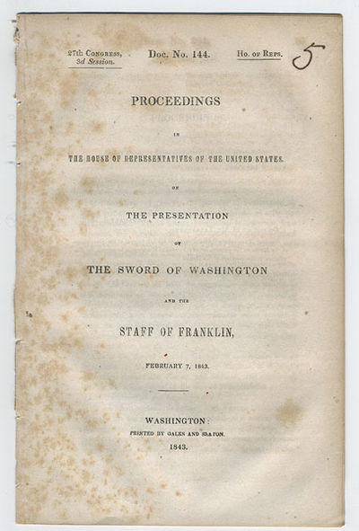 Washington: Printed by Gales and Seaton, 1843. 8vo. 13 pp. A transcript of the proceedings of the U....