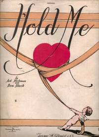 image of HOLD ME SHEET MUSIC-SELLING FRONT COVER ONLY SHOWING CUPID WRANGLING A  HEART WITH RIBBON