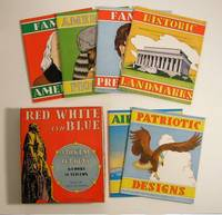 Red White and Blue Stick'em Cut Outs.  6 Books in this Box.  Historic Landmarks.  Famous Presidents.  American Pioneers.  Patriotic Designs.  Airplanes and Ships.  Famous Americans