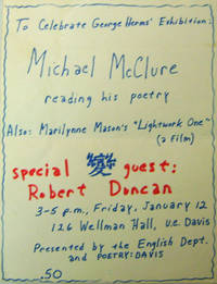Original Hand-Printed Exhibition Flyer by  George (Michael McClure / Marilynne Mason / Robert Duncan) Art - Herms - Paperback - First edition - 1970 - from Derringer Books (SKU: 12689)