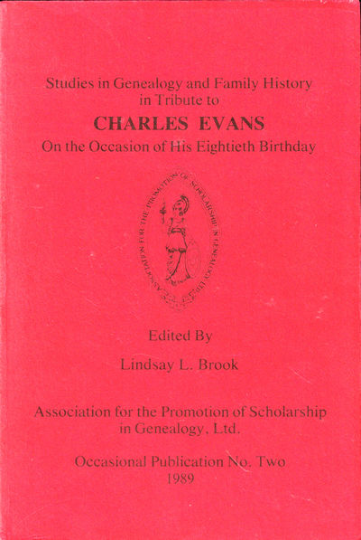 Aalt Lake City: Association for the Promotion of Scholarship in Genealogy, 1989. Paperback. Very goo...