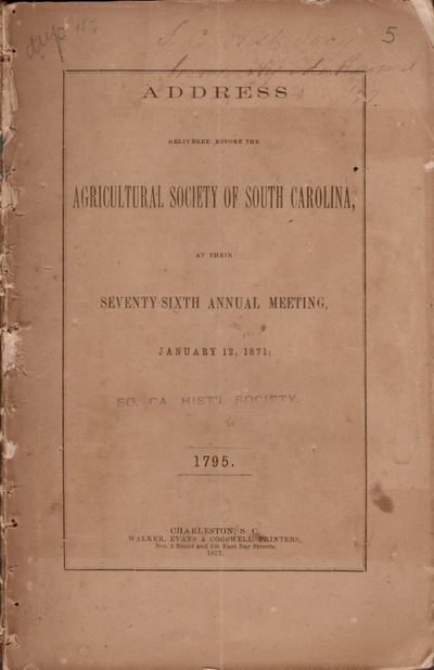Charleston: Walker, Evans & Cogswell, 1872. First Edition. Wraps. Good. Wraps. Approx. 9