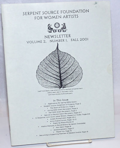San Francisco: Serpent Source Foundation for Women Artists, 2001. Magazine. 20p. each, 8.5x11 inches...