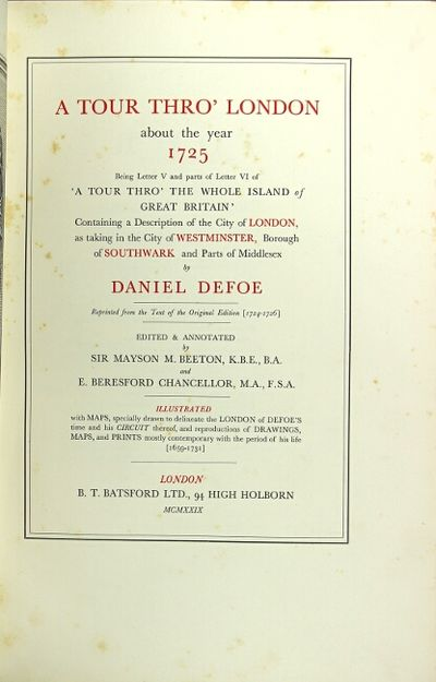 London: B. T. Batsford Ltd, 1929. Edition limited to 350 copies, of which 300 are for sale; folio, p...