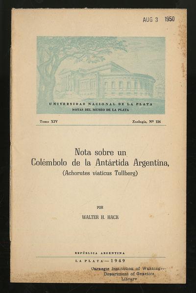 La Plata, Argentina: Museo De La Plata, 1949. Softcover. Very Good. First edition. Tomo XIV, Zoologi...