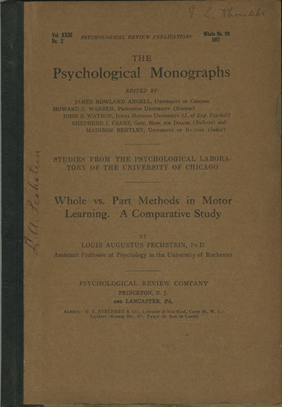 Princeton: Psychological Review Co., 1917. First edition. Quarter cloth over paper covered boards. A...