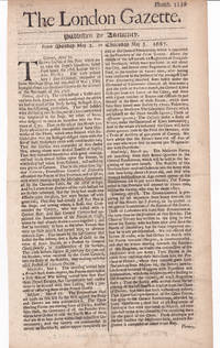 THE LONDON GAZETTE.  Published by Authority. From Monday May 2. to Thursday May 5. 1687. Numb. 2239