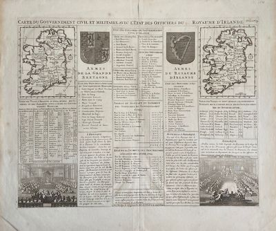 1719. Map. Engraving Image 13 1/2 x 18 1/4 inches 16 3/4 x 20 inches. Some foxing and overall toning...