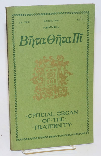Cincinnati: the fraternity, 1896. Unpaginated preliminaries, 239-305p., a few inserted plates. Wraps...
