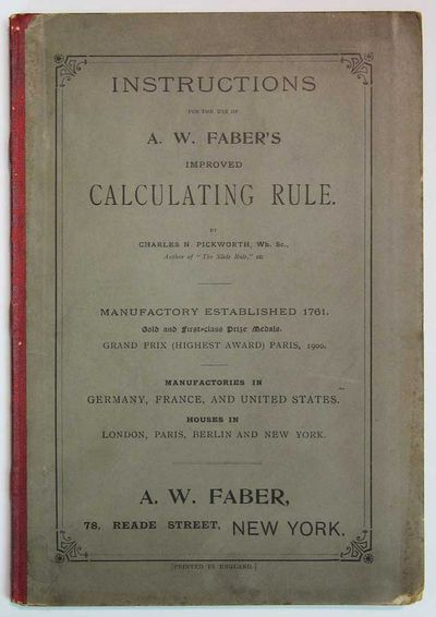 New York: A. W. Faber, (n. d.). Ca early 1900s. Red cloth spine with stiff grey paper-stock covers. ...
