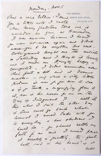 A letter from Edward Burne Jones to Ruskin