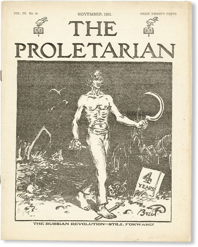Detroit: Proletarian Party of America, 1921. First Edition. Quarto (27.25cm); illustrated wrappers, ...