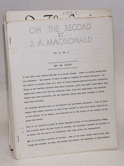 n.p.: the author, . 17 issues of MacDonald's self-published newsletter, all but two on 8.5x11 inch s...