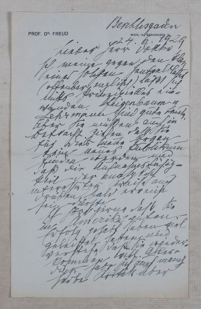 Vienna: NP, 1929. Original document. Loose leaf. Fine condition. Octavo (9 x 5 5/8). Two page handwr...