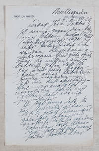 Freud Letter to Fritz Wittels, 1929. [SIGNED HANDWRITTEN LETTER]