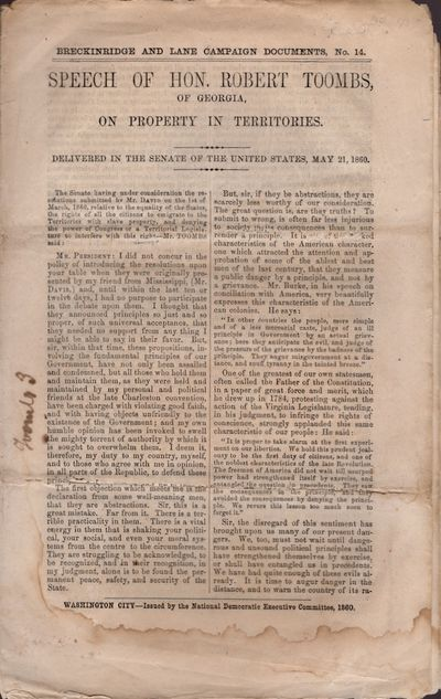Washington DC: National Democratic Executive Committee, 1860. Wraps. Good. Wraps. Approx. 10' x 6.5