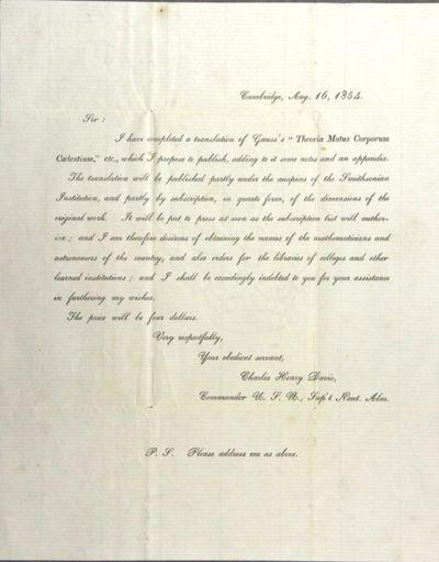 Cambridge, : Aug. 16, 1854. Broadside (approx. 9¾' x 7¾
