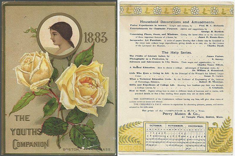 VICTORIAN TRADE CARD FOR YOUTH'S COMPANION, BOSTON MASSACHUSETTS WITH LOVELY LADY, Advertisement