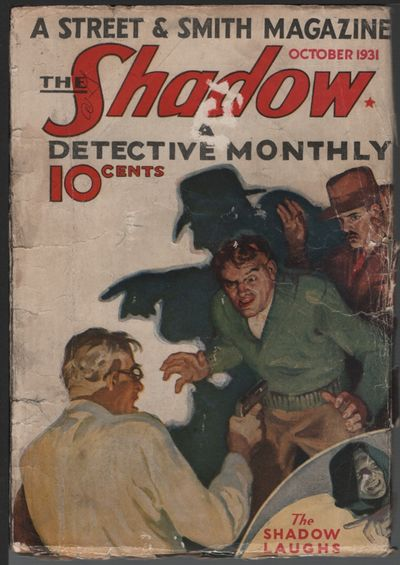 Shadow, 1931 October, #3. This very scarce early issue rarely comes up for sale. Internal tape, pape...