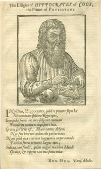 image of The Effigies of Hippocrates of Coos, the Prince of Physicians.  Woodblock portrait