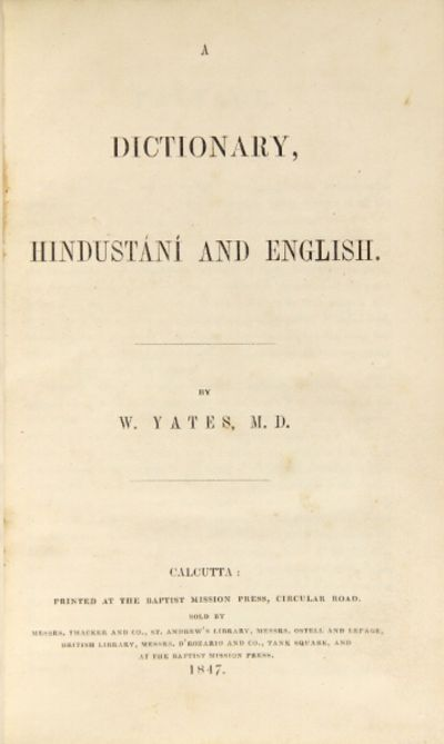 Calcutta: Baptist Mission Press ... sold by Messrs. W. Thacker and Co. , 1847. 8vo, pp. iv, , 589, ,...