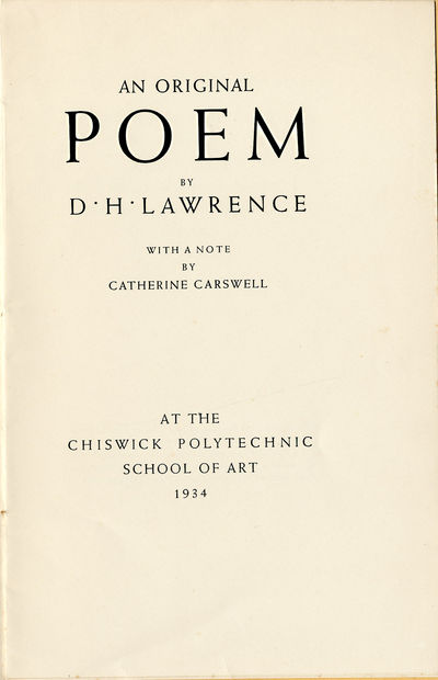 : At the Chiswick Polytechnic School of Art, 1934. Printed stiff wrapper. A few tiny spots and light...