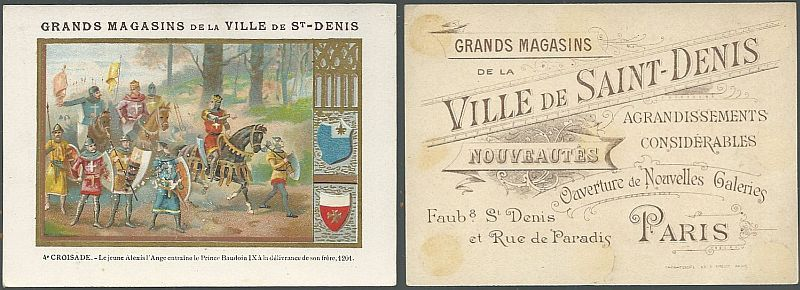 VICTORIAN TRADE CARDS FOR VILLE DE SAINT DENIS, PARIS WITH THE CRUSADE, Advertisement