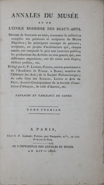 Paris, 1808. First edition. Hardcover. g- to vg. Large octavo (8 3/4 X 5 1/4