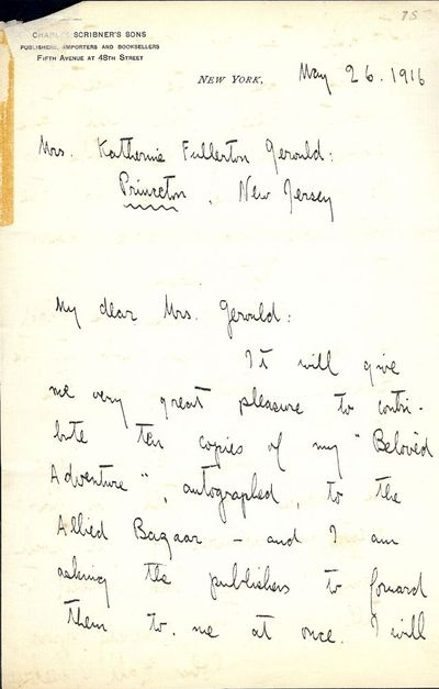 1916. WHEELOCK, John Hall. Autograph Letter Signed. Two pages on a single sheet of Scribner's statio...